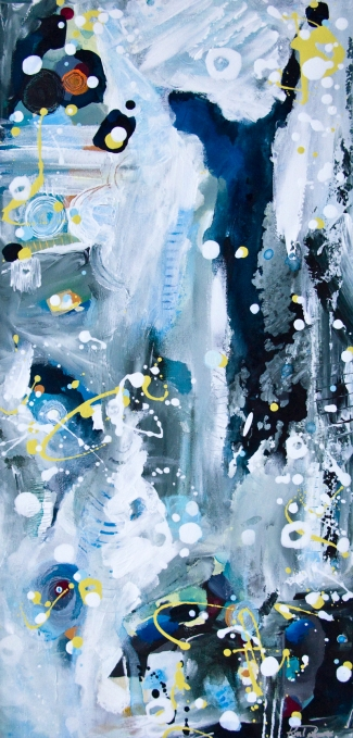 PERFECT FIFTHS, LOW SKIDS AND ARCTIC HOWLS I ❘ Acrylic on canvas ❘ 12″ x 24″