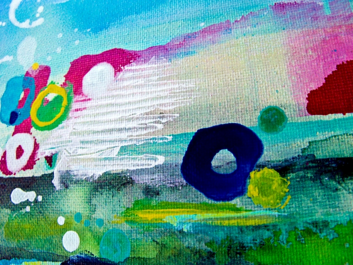 Detail from: SHERPA HIGH❘Acrylic on canvas❘12″ x 12″