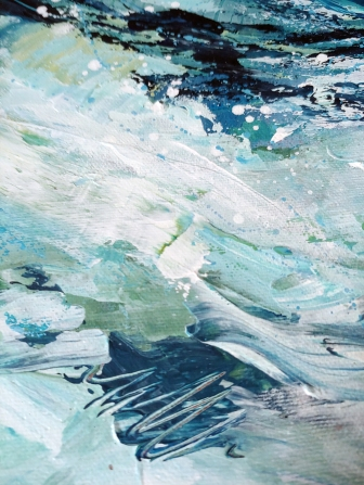 Detail from THE STAIN OF OCEAN, original abstract expressionist painting by Kim Duhaime