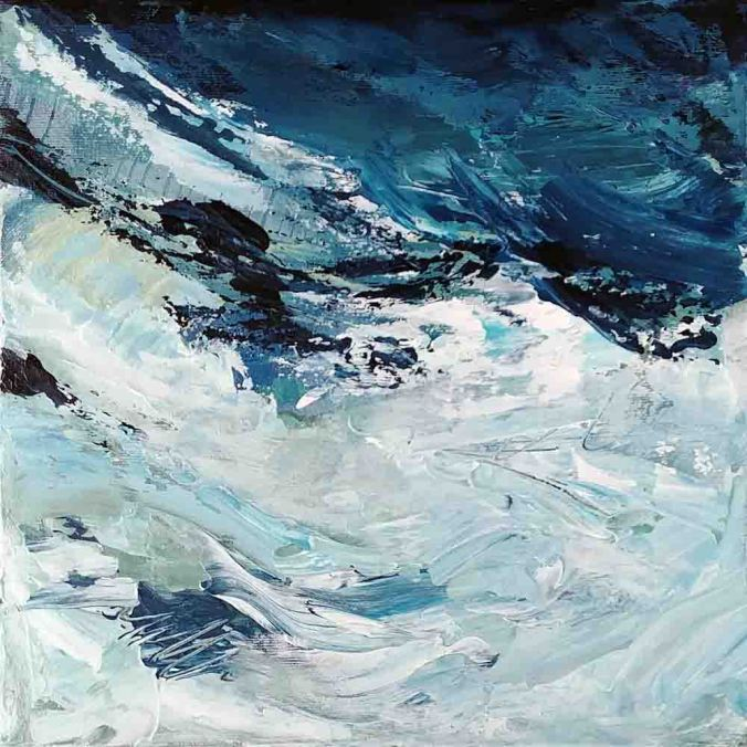 "THE STAIN OF OCEAN, original abstract expressionist painting by Kim Duhaime, 10"" x 10"", acrylic on canvas, $250"